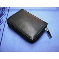 Porta-tarjetas De Crédito-11 Divisores - 100% Cuero