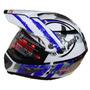 Casco Ls2 Mx433 Cross Con Visor Stripe Withe Blu Devotobikes