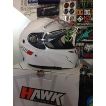 Casco Rebatible Hawk Rs5, Blanco-plata-negro, En Motopark!!
