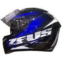 Casco Integral Zeus Gj 806 Ii48 Solid Black Blue Devotobikes