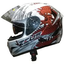Casco Integral Zeus Gj 806 I35 White Dragon Rojo Devotobikes