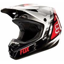Casco Fox V1 Moto Cross Enduro Mx Negro Rojo Orig Mg Bikes