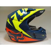 Casco Fox V1 Navy/yellow - Bondio Sport