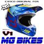 Casco Fox V1 Moto Cross Enduro Mx Azul Amarill Orig Mg Bikes