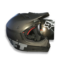 Combo Casco Fox Vf1 Negro Mate Y Guantes Mechanix Mx Atv Utv