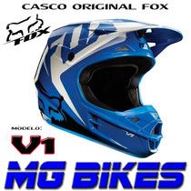 Casco Fox V1 Moto Cross Enduro Mx Azul Blanco Orig Mg Bikes