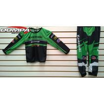 Pijama Niños Conjunto Motocross, Kawasaki Atv Mx Dompa Motos