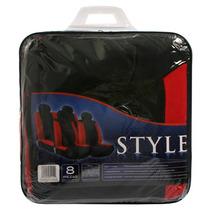 Set Fundas Para Asientos Style Polyester 8 Piezas Negra Roja