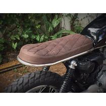 Asiento De Cuero Moto Cafe Racer Scrambler Tracker