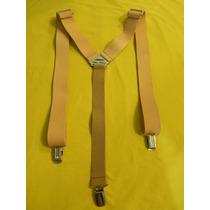 Tirador Pantalón Suspenders Pinza Madison Plat Cuero Nat 3cm
