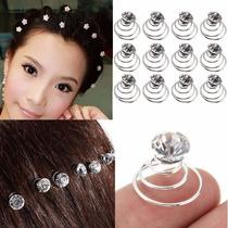 6 Pins Twist Cristal Blanco Circular Peinados Quince Novia