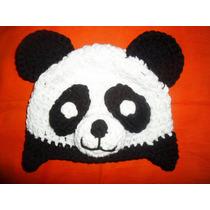 Gorro De Panda Tejido Al Crochet