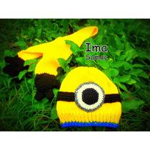 Gorro Y Bufanda Minion Al Crochet. Artesanales.