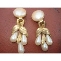 Aros Clip Vintage Con Perlitas Y Caidas
