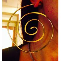 Aros Colgantes Espiral Dorados Con Pasador Última Moda Envío