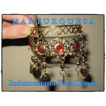 Pulsera Danza Árabe Metal Flores Piedras Monedas Dorado Rojo