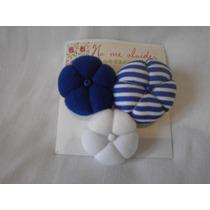 Prendedor Flores Tela Blanco/celeste/azul