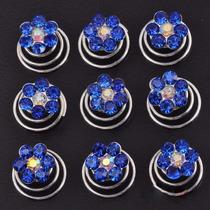 Set De 12 Horquillas Twist Azules Con Forma De Flor