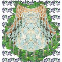 Poncho Capa Tejido Crochet En Seda Bril Delicado Y Elegante