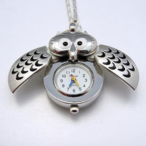 Collar Con Reloj Búho Colgante Plata, Con Alas Que Se Abren