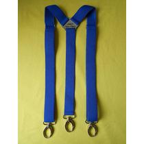 Tirador Pantalón Suspenders Mosqueton Presilla Azul Fran 3cm