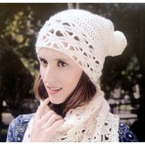 Gorro De Lana Mohair Largos Pompon Tejidos Artesanal Crochet
