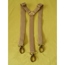 Tirador Pantalón Suspenders Mosqueton Bronce Beig 3cm