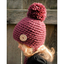 Gorros Pompon Niños Adultos Tejidos A Crochet Artesanal
