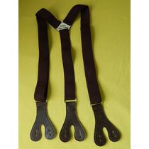 Tirador Pantalón Suspenders Doble Ojal Boton Marròn Osc. 3cm