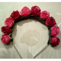 Vincha Con Flores Rojas Corona Floral Flower Crown