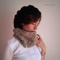 Cuello Tejido Al Crochet De Lana Mujer Artesanal Invierno
