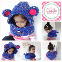 Cuello Capucha Capa Tejida Crochet