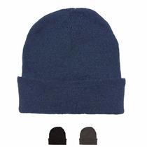 Gorro Lana Liso Gris, Azul O Negro - Ponele Tu Logo!