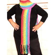 Bufanda De Lana A Crochet Modelo Arco Iris - 1,80 Ms