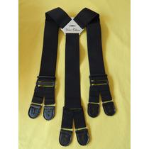 Tirador Para Pantalón Doble Ojal Para Botones Negro 5cm