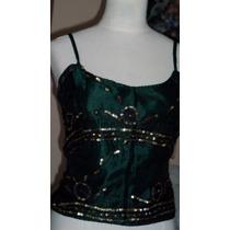 Corsette Verde Esmeralda Y Oro/ Seda/ Bordado/ Indonesia.