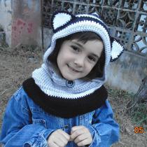 Gorro Con Cuello Tejido Al Crochet.