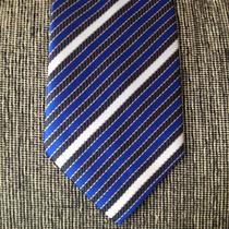 Corbata De Seda Azul, Negra Y Gris - G022