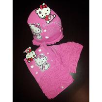 Bufanda Y Gorro Hello Kitty- Conjunto Con Licencia