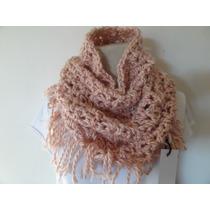 Cuello Tejido Lana Color Rosa Al Crochet