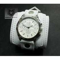Muñequera De Cuero Con Reloj Markov Cueros Color Blanco