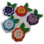 A Pedido Pack X 5 Flores Tricapa Hojas Tejidas Crochet