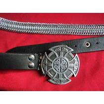 Cinto Cinturon Rock Metal Cuero Vaqueta Celta