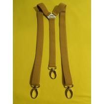 Tirador Pantalón Suspenders Mosqueton Plat. Beig 3cm