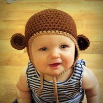 Gorro Bebe Crochet Con Orejas De Mono Tejido A Mano