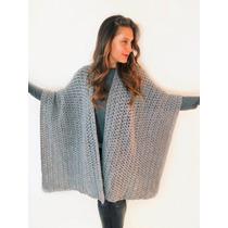 Ruana Capa Poncho Abrigo Cardigan Wrap Boho Tejido Crochet