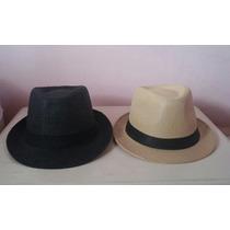 Sombrero Gorro Panama Paja Moda Verano Playa Negro Natural