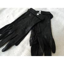 Guantes Mujer Cuero Negro Vestir N° 6 1/2