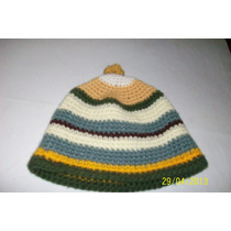Gorro De Lana Blanco Amarillo Bordo Verde Natural