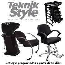 Combo Peluquería Lavacabezas + Sillón + Ayudante Teknikstyle